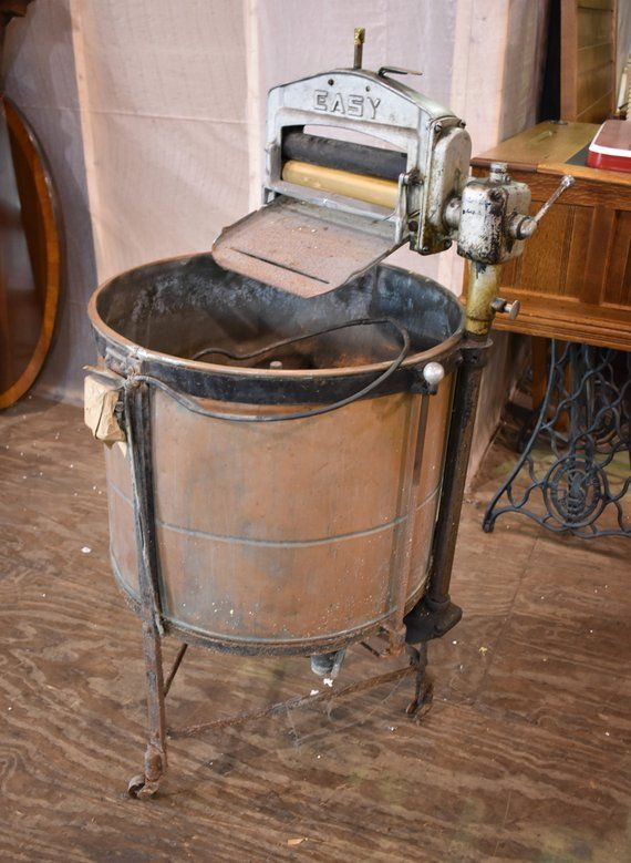 Antique Easy Primitive Copper Wash Tub Wringer Washing