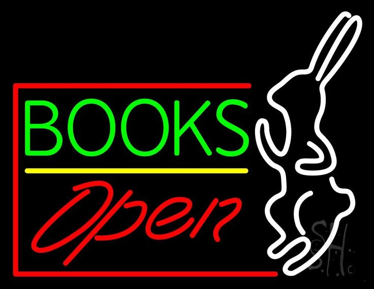 Green Books With Rabbit Logo Open Neon Sign 24 Tall x 31 Wide x 3 Deep, is 100% Handcrafted with Real Glass Tube Neon Sign. !!! Made in USA !!!  Colors on the sign are Red, Blue and White. Green Books With Rabbit Logo Open Neon Sign is high impact, eye catching, real glass tube neon sign. This characteristic glow can attract customers like nothing else, virtually burning your identity into the minds of potential and future customers.