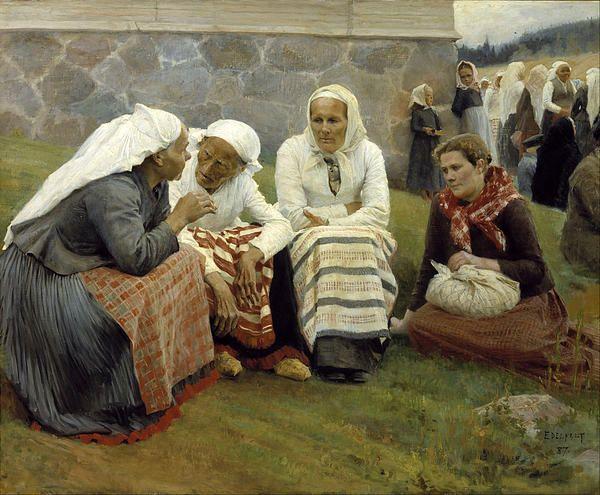 Women Outside The Church At Ruokolahti  Albert Edelfelt