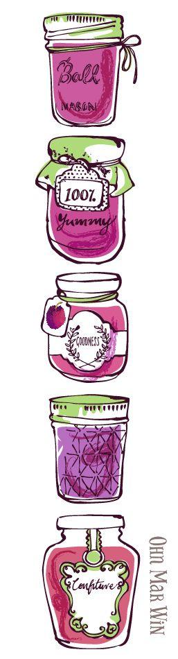 Plum Jam vintage jars mason jar Ohn Mar Win