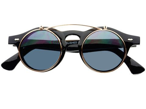 Round Steampunk Flip Up Sunglasses R091