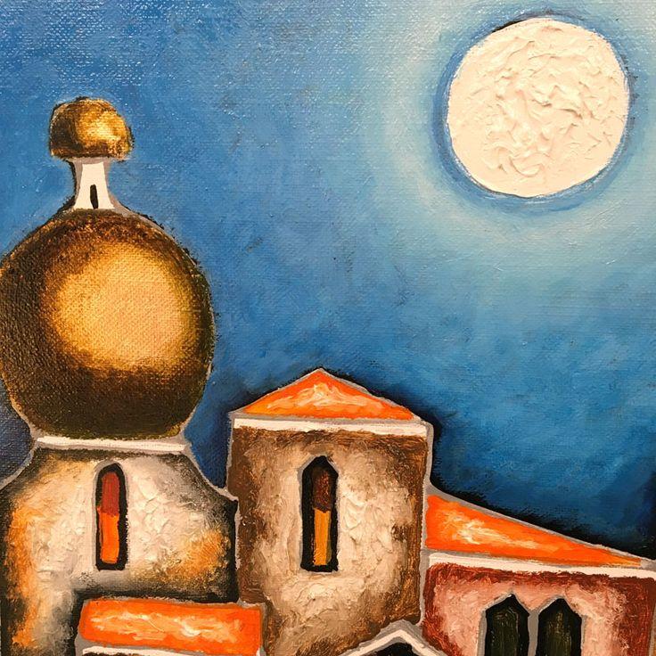Pittura ad olio su tela per questo dipinto di Elio De Pasco, pittore veneziano   fluidofiume Galleria d'arte
