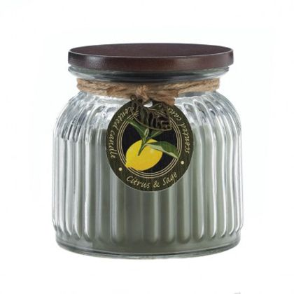 <p>Bright notes of citrus and earthy tones of sage mix and mingle in this charming candle. The ribbed glass jar comes with a lid. 16 oz and 100 burn time. </p>