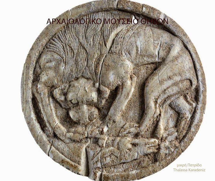 Μικρή Πατρίδα: Αρχαιολογικό μουσείο Θηβών. Πώμα πυξίδας απο ελεφαντόδοντο με παράσταση λέοντα που κατασπαράσσει ταύρο.Μυκηναϊκά νεκροταφεία Θηβών.140ς-13ος αι.πχ
