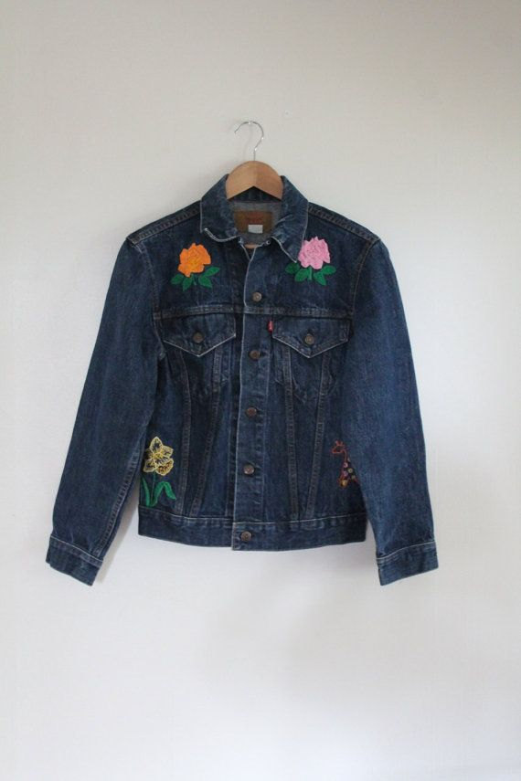 60s Authentic Levi's Embroidered Jean Denim Jacket by LooseMooseMT
