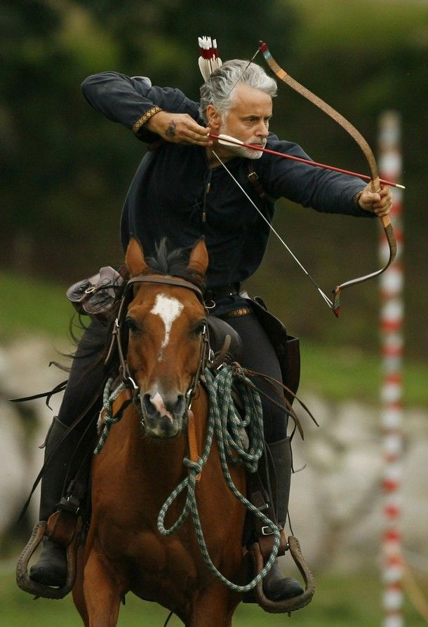 Horseback Archery. I really want to try this. 'cept I can barely hit anything with both feet on the ground and unmoving, and my riding skills really need brushing up on. XP