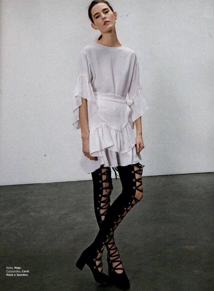 RAHIME white short dress with frills, SS17, Grazia