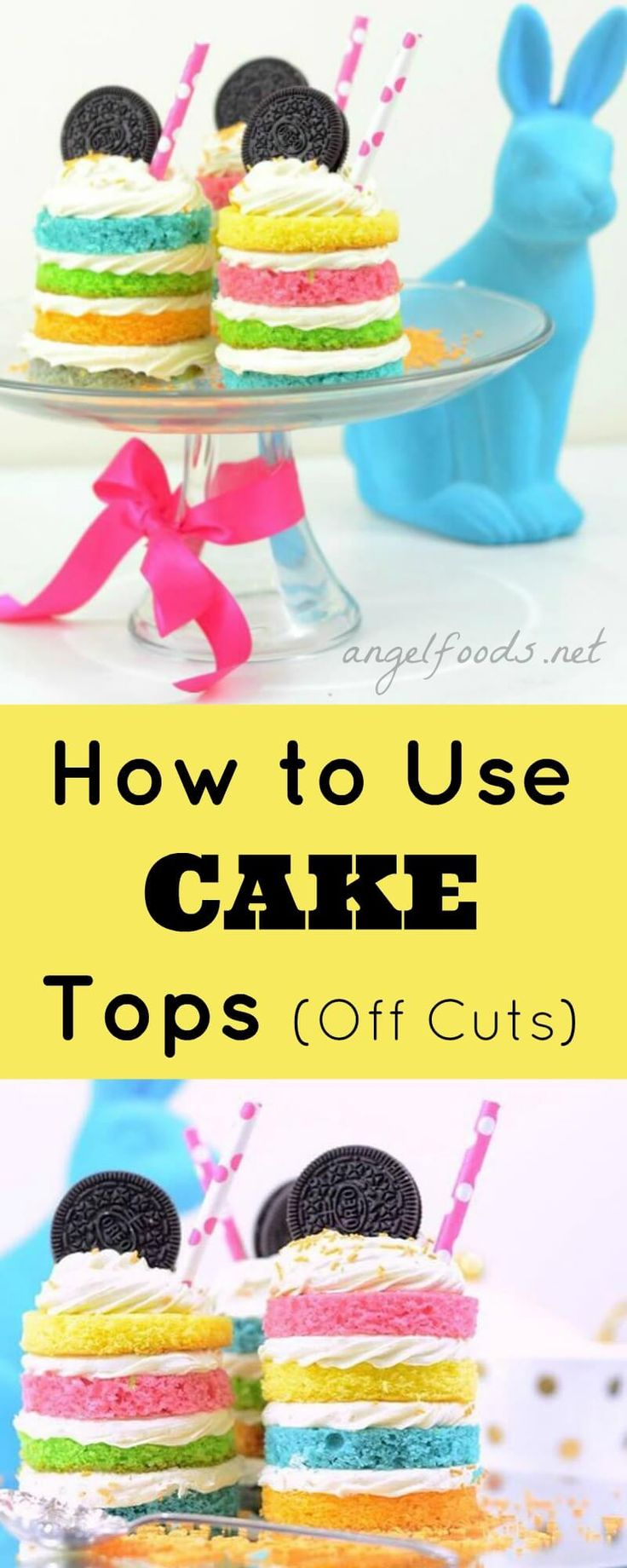 How to Use Cake Top Cut Off's   Rainbow layer mini cakes   Using your cake cut offs (or off cuts) and turn it into something you can sell, with mini rainbow layer cakes! If you are sick of wasting your cake that you cut off, throwing food away always makes you cringe and try to avoid throwing as we hate so much cake being wasted!