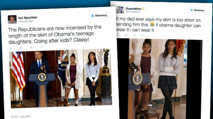 Córki Baracka Obamy na corocznej uroczystości ułaskawienia indyka z okazji Święta Dziękczynienia pojawiły się w dość krótkich spódniczkach. Współpracownica republikańskiego kongresmena, która skrytykowała strój dziewczynek i ich zachowanie, przeprosiła i zrezygnowała z funkcji. http://www.tvn24.pl/wiadomosci-ze-swiata,2/corki-obamy-sasha-i-malia-skrytkowane-urzedniczka-kongresu-stracila-stanowisko,494497.html