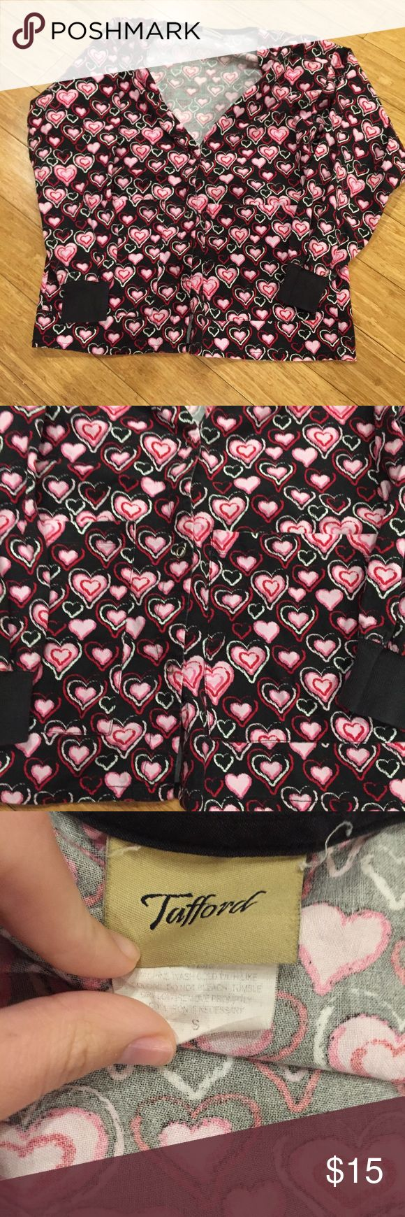 Tafford Scrub Jacket black pink hearts size small Cute. Good condition! Best offer please!:) Tafford Jackets & Coats