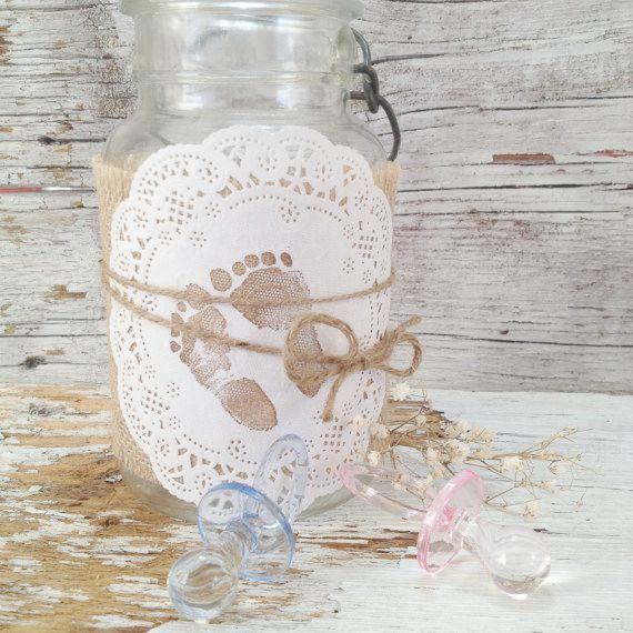 Simple Baby Shower Decor for 5 Jars, Shabby Baby Shower Centerpiece, Burlap Mason Jar Centerpiece Kit,  DIY Baby Shower Centerpiece Idea