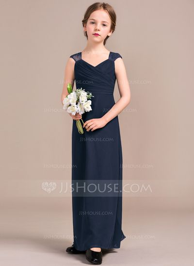 Sheath Column V-neck Floor-Length Ruffle Zipper Up Covered Button Cap  Straps Sleeveless No Regency General Chiffon Junior Bridesmaid Dress bc05fd84d