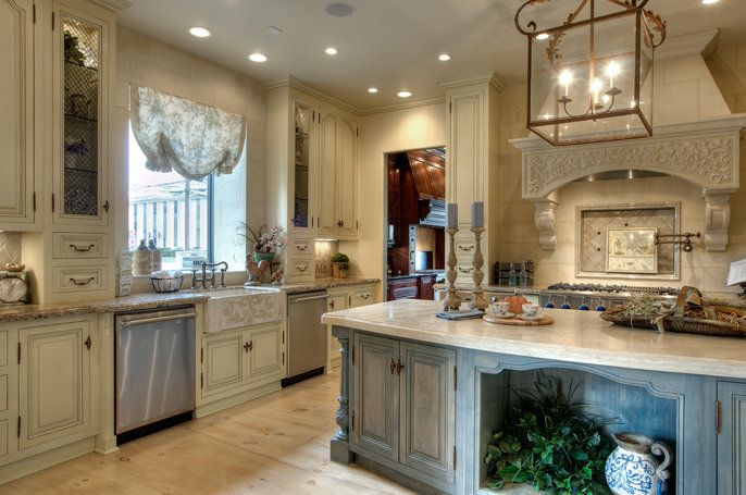 Blue French Country Kitchen Cabinets Houzz French Cream With Brown Glaze Island Is French Blue With Whitewash Kitchen Pinterest French Blue