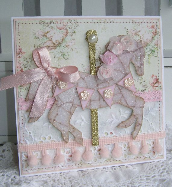 Carousel Horse Handmade Birthday or New Baby Girl by PaperBistro, $7.00  Etsy