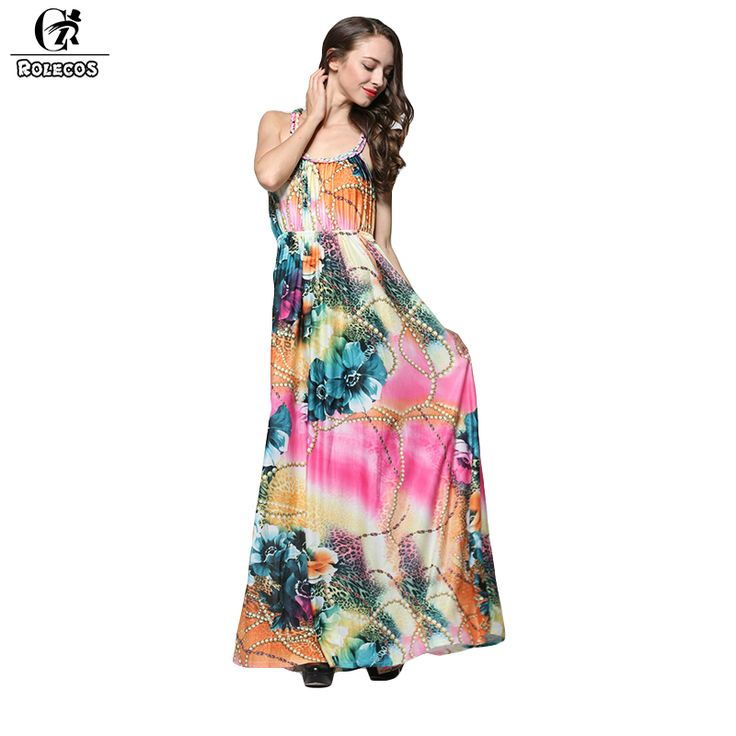 ==> [Free Shipping] Buy Best ROLECOS Fashion Bohemian Style Women Dress Floral Print Floor Length Dresses Plus Size Vestidos Summer Style Women Beach Dress Online with LOWEST Price | 32700139210