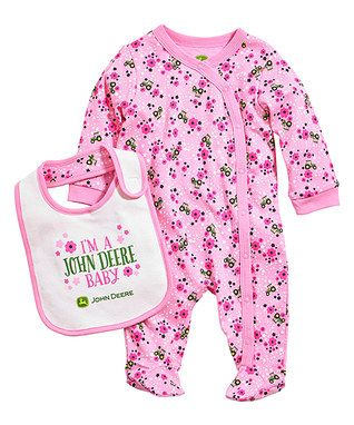 Pink 'I'm A John Deere Baby' Footie & Bib - Infant