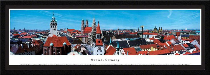 Munich Skyline Panoramic Picture Framed, Germany-Series 2