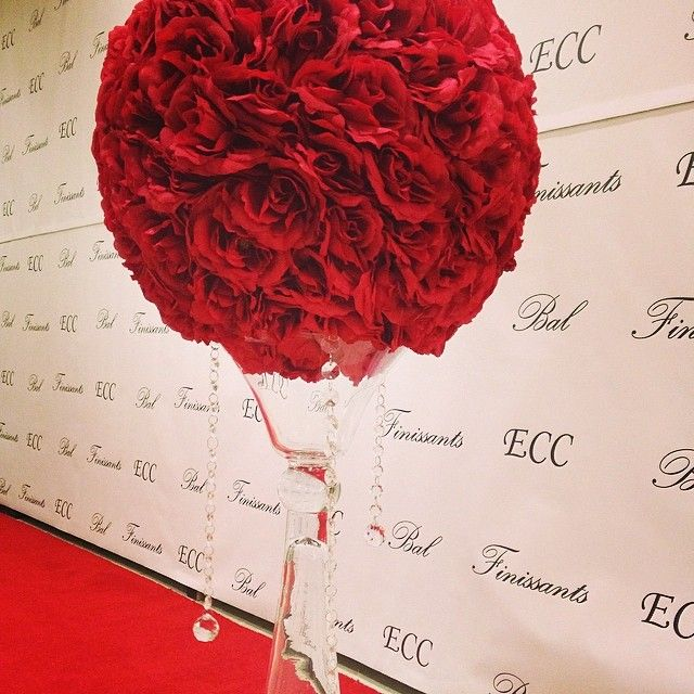 Large red rose ball at the entrance of the ECC prom . #crystals #unicodecor #bling #red #eventrental