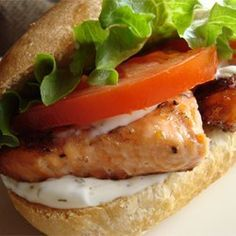 Grilled Salmon Sandwich with Dill Sauce - Allrecipes.com