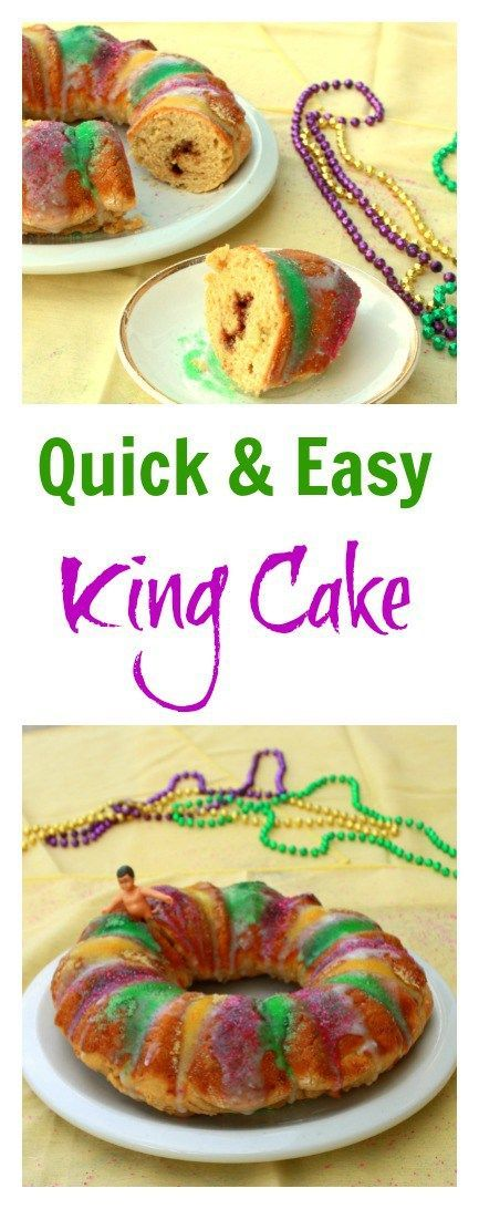 Celebrate Mardi Gras with this quick and easy to make King Cake recipe (baked and frosted in a little over an hour!) Recipe at http://Teaspoonofspice.com