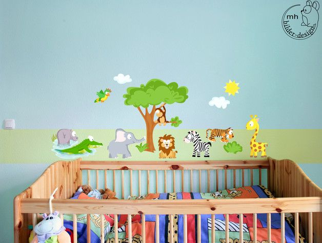 New Wandgestaltung Wandtattoo SET Baby Welttiere Afrika Dschungel ein Designerst ck von mhbilder