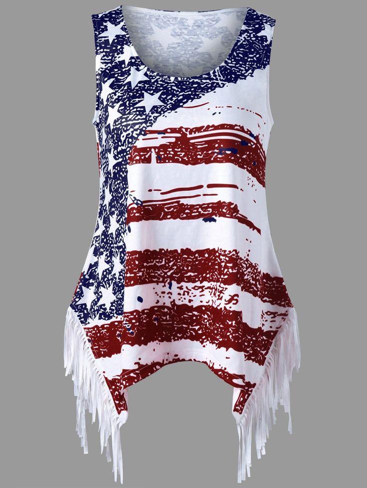 American flag print,tank top,plus size,plus size for women,plus size fashion,plus size brand,plus size tops,plus size shop,plus size fashion,women,sammydress,sammydress.com,summer outfit,  tops for women,summer tops,cheap ladies'tops,sleeveless tops,striped tops,sleeveless top,summer top