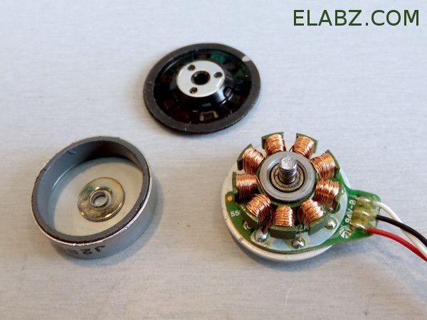A disassembled CD/DVD brushless DC spindle motor