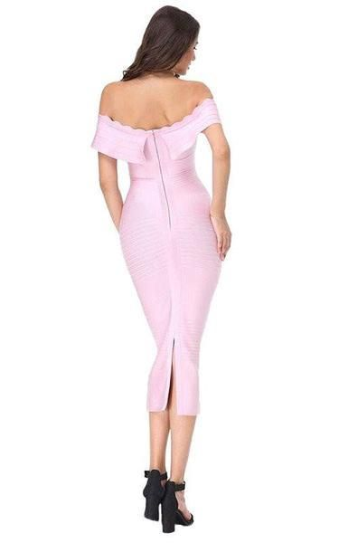 17ab1e1e6c An off shoulder light pink midi bandage dress with knee-length modesty.  It s a sexy yet classic look that is feminine and flattering.