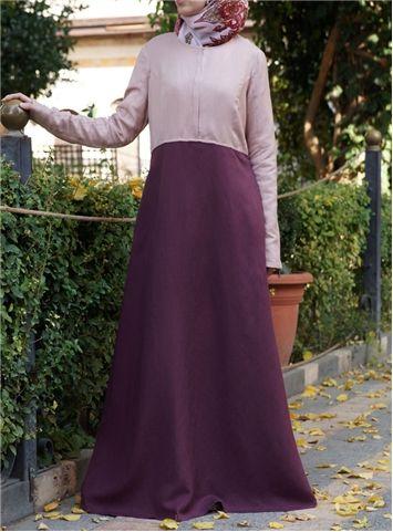 Zipped Color Block Abaya
