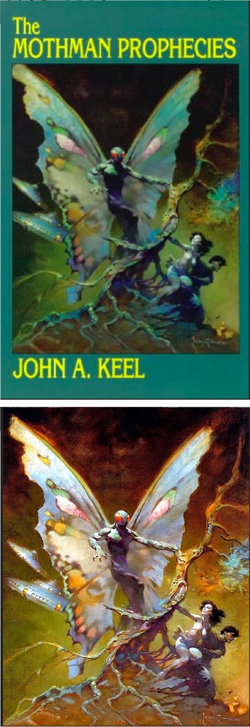 FRANK FRAZETTA - The Mothman Prophecies - John A. Keel - 1991 Illuminet Press - cover by isfdb - print by artistsuk.co.uk