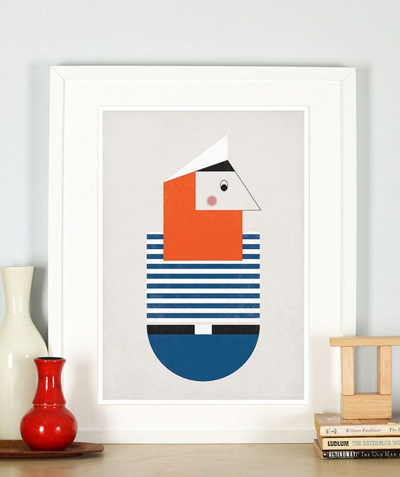 Affiche rétro pour pépinière, pirate, barbe foxy, thème marin, mer, océan, sailor, art minimaliste, style scandinave, vintageart art imprimé