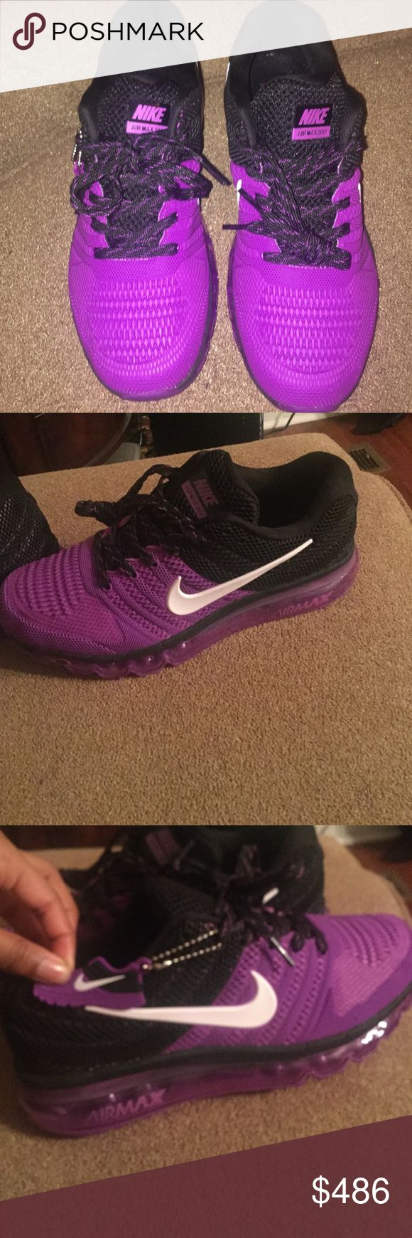 Women's athletic shoes Black and purple Airmax new 2017 limited addition and these never been worn my feet are to big .lol Nike Shoes Athletic Shoes