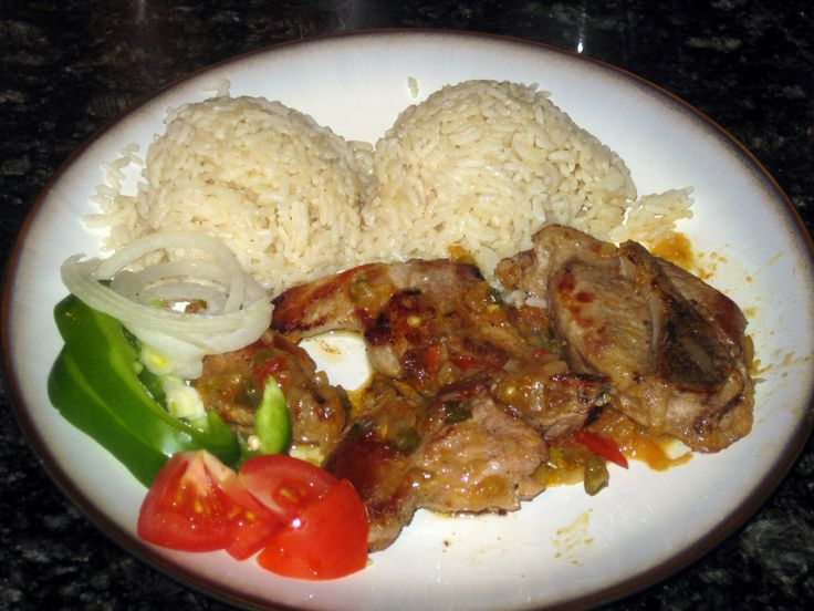 slovak ribs with rice and vegetables