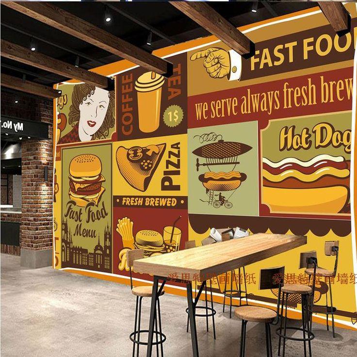 Pizza frete Grátis 3D papel de parede dos desenhos animados hambúrguer batatas fritas Francês restaurante fast food loja Café sala de jantar papel de parede mural