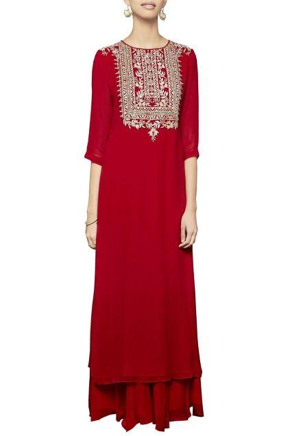 Red dori embroidered kurta with sharara
