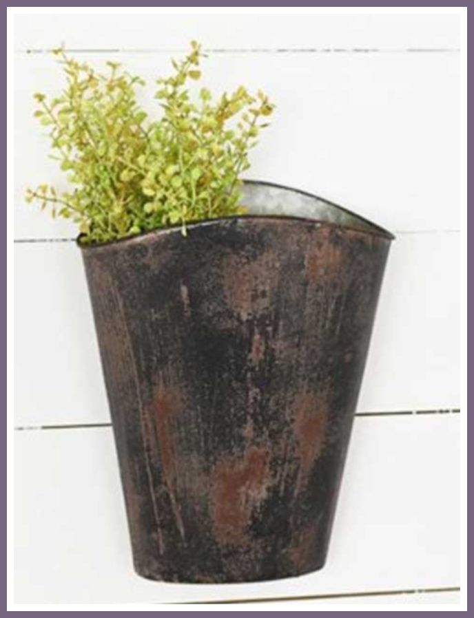 The Country Chic Tin Wall Pocket Will Look Rustic And Lovely On A Wall In Your Home Whether You Use It To Catch Cl Baskets On Wall Tin Walls Antique Farmhouse