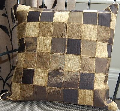 """2 New brown check satin taffeta chenille cushion covers  16"""" RRP £17 each"""