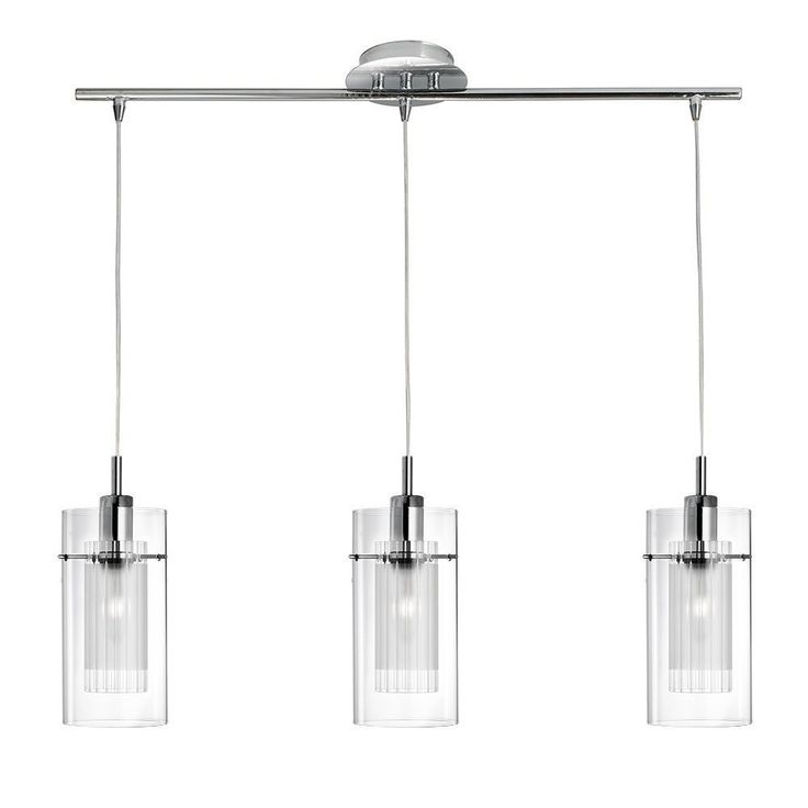 3303 3CC Duo 1 3 Light Pendant With Clear Frosted Glass Ideal For
