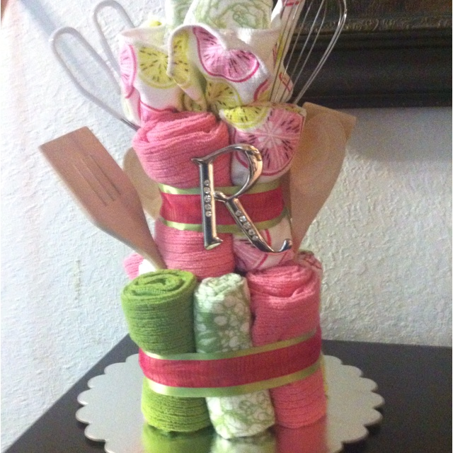 Towel Cake I made for a Bridal Shower. Easy & inexpensive centerpiece.