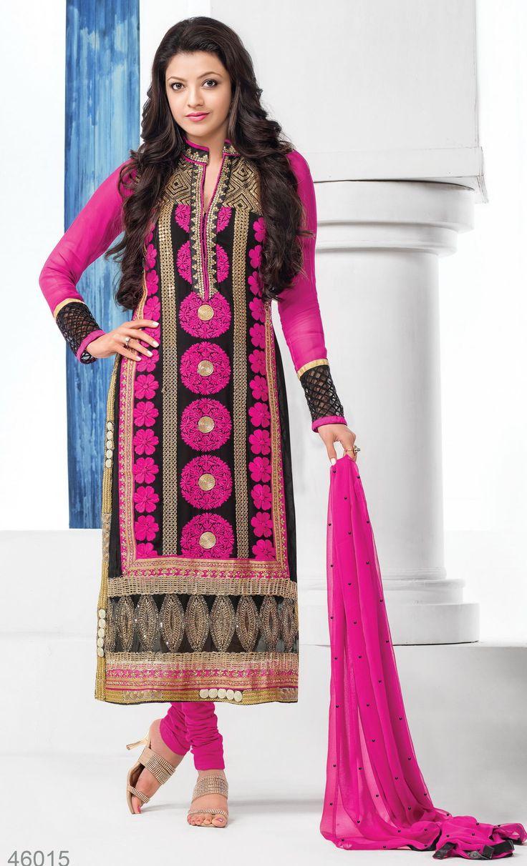 Kajal Agarwal Designer Semi Stitched Salwar Suit - http://member.bulkmart.in/product/kajal-agarwal-designer-semi-stitched-salwar-suit-4/