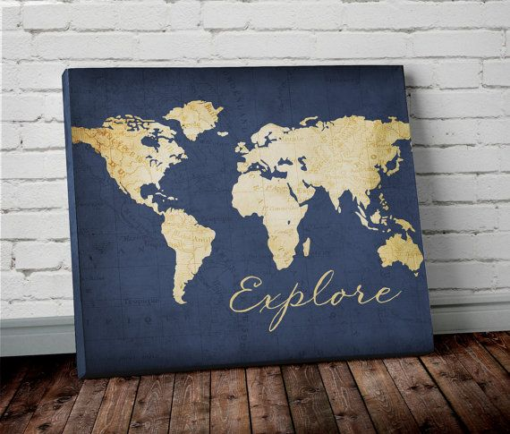 We Love World Maps! This world map is shown with a vintage map background. The word explore is on the bottom of the map. Shown in Navy…