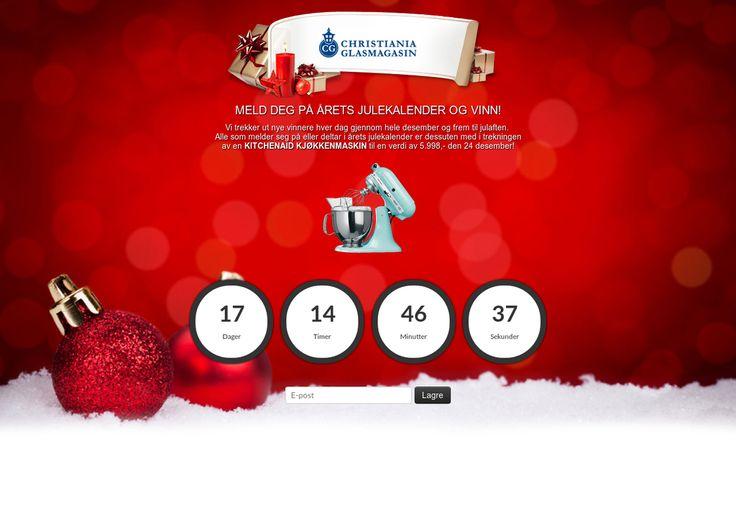 Christiania Glasmagasin Julekalender 2014 - VINN! Nye premier hver dag! Alle som deltar er også med i trekningen av en KITCHENAID Kjøkkenmaskin (verdi 5998,-)
