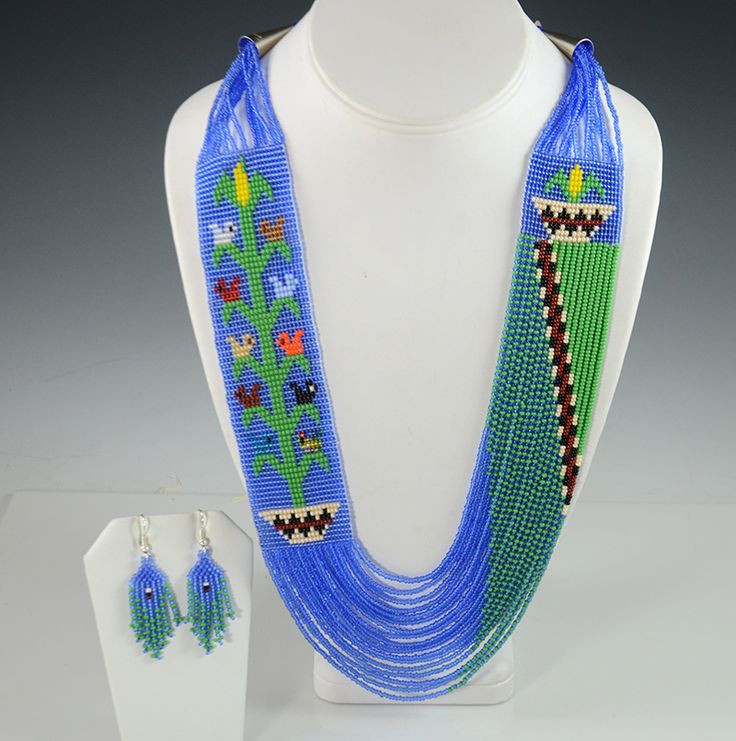 Navajo Artist Rena Charles Hand-Made this Wide Blue Tree of Life Necklace with Matching Earrings.