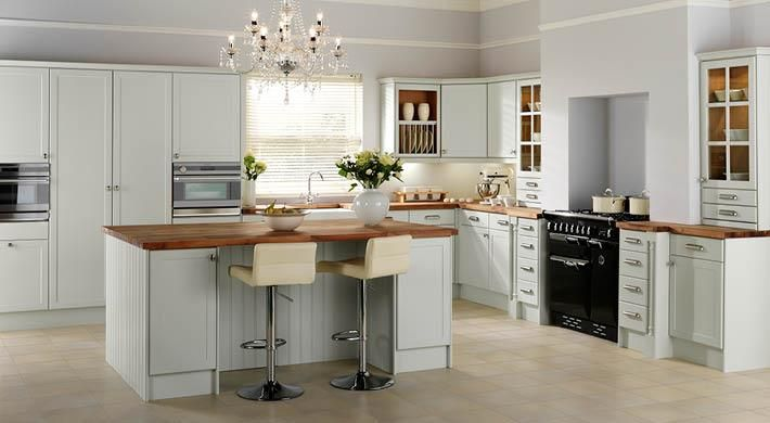 The Appleby Range. A Shaker-style traditional kitchen with a subtle blue-green hue to add a homely yet innovative feel. #stylish #kitchen #shaker #blue #green