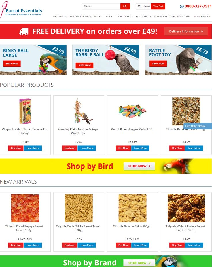 we made the Parrot Essentials website easier to navigate and to see the products... Follow us!