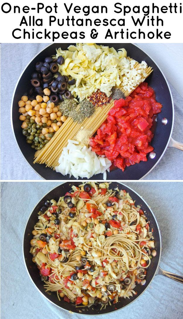 One-Pot Vegan Spaghetti Alla Puttanesca with Chickpeas & Artichoke - from 21 a great list of Simple One-Pot Pastas