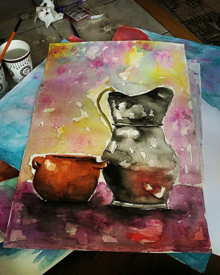 Canlı sulu boya çalışması