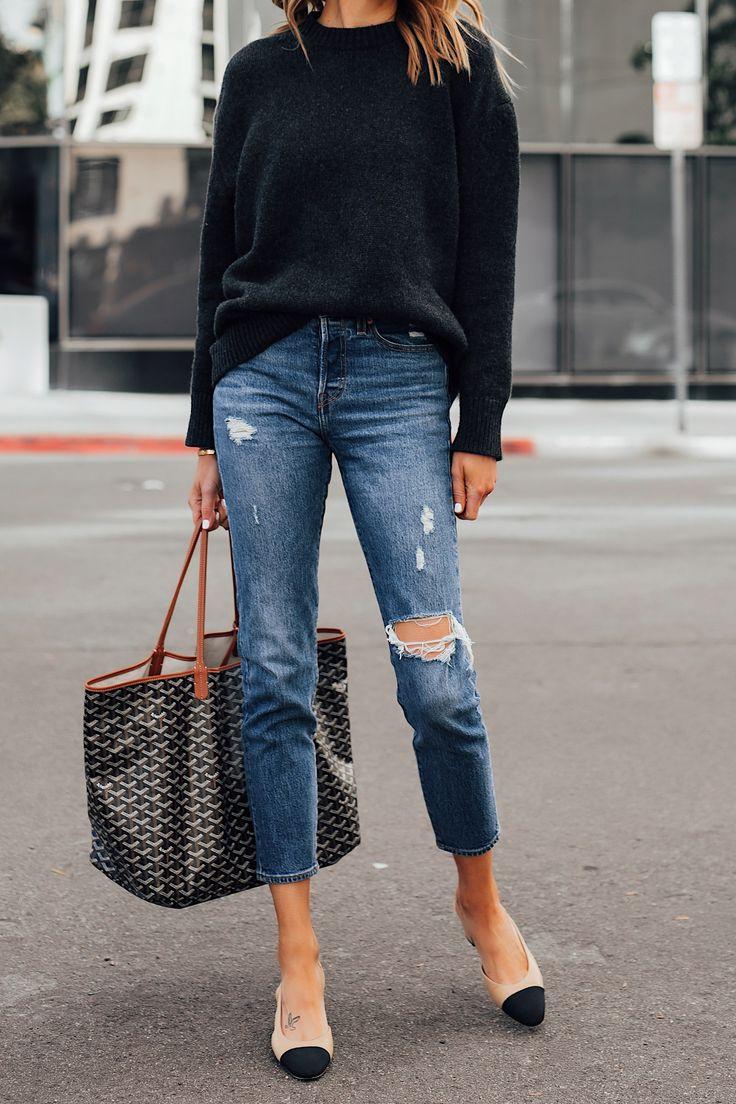 Fashion Jackson Wearing Anine Bing Black Sweater Levis Ripped Jeans Chanel Slingbacks Goyard St Louis GM Tote Black Tan