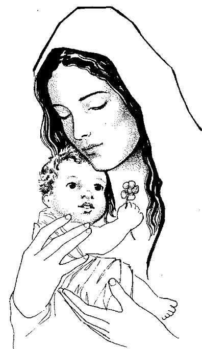 Catholic Coloring Page of Baby Jesus and His mother, Mary
