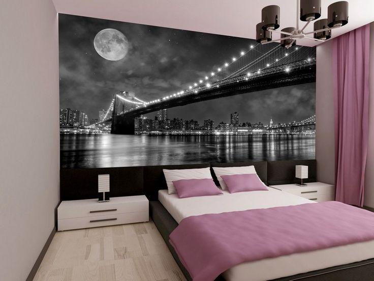 poster mural XXL New-York, literie en blanc et rose, rideaux assortis et sol en parquet contrecollé